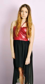 Burgundy Halterneck Dipped Hem Dress with Studs